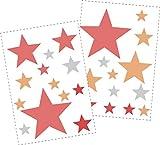 25 Sterne Wandtattoo fürs Kinderzimmer - Wandsticker Set - Pastell Farben, Baby Sternenhimmel zum Kleben Wandaufkleber Sticker Wanddeko - Wandfolie, Kleinkinder, Erstausstattung auf Rauhfaser Rot