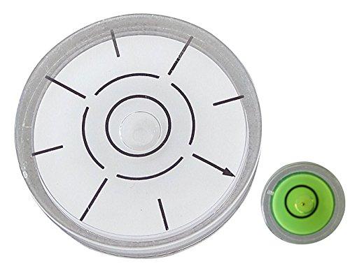 Runde Pack (Dosenlibelle Zweier Pack – Runde Medium & Mini-Wasserwaage mit Bullseye und Luftblase – Werkzeug für Uhr, Hobby, Plattenspieler, Kamera und Caravan)