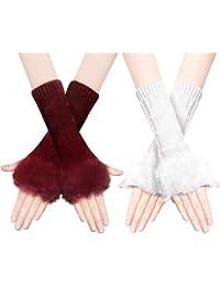 Calentadores de malla suaves de algodón de manga corta, guantes de invierno, para mujeres