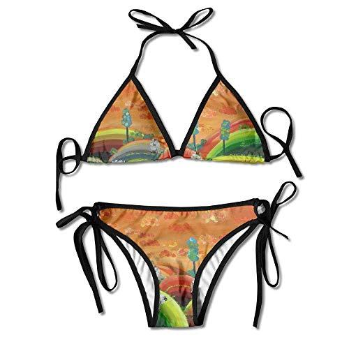 e4f6c021a8f Sdltkhy Sexy Women Swimsuits Bikini Set Tree Painting Print Padded Bathing  Suit Adjustable Swimsuit