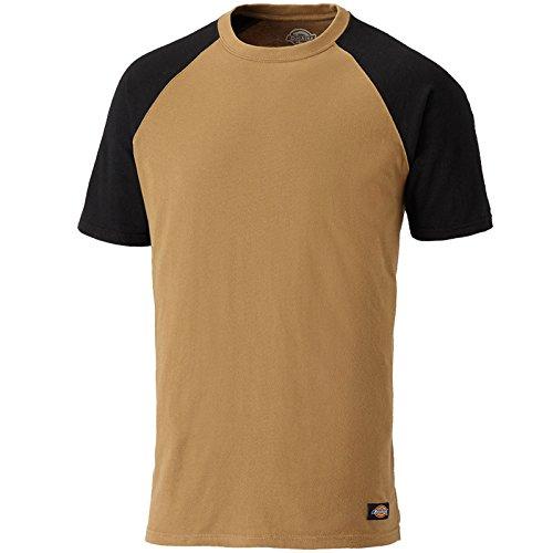 Dickies Two Tone T-Shirt SH2007, 100%Baumwolle, 180g/m², verschiedene Farben (3XL, Khaki / Schwarz) (Tone-raglan-t-shirt)