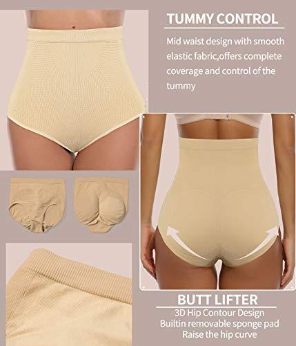 COMFREE Bauchweg Unterhose Shaping Unterwäsche Miederslip Figurformende Miederhose Butt Lifter Beige S M - 2