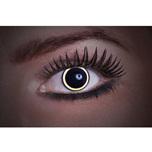 Eyecatcher Flash Eclipse Color Fun, farbige UV-Kontaktlinsen / Motivlinsen, Sonnenfinsternis, leuchten bei Schwarzlicht, 1er Pack (1 x 2 Stück)
