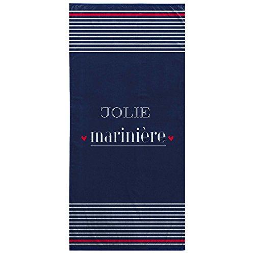Ligne Décor Serviette de Plage 70 x 150 cm Eponge Velours Imprime Jolie Mariniere, Coton, Multicolore, 150x70 cm