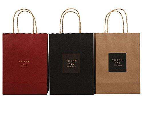 Papier Tasche, Set von 12Geschenktaschen, Geburtstag Kinder Party Weihnachten Thanksgiving Favor Bag Set, 3Farben (braun/schwarz/rot)