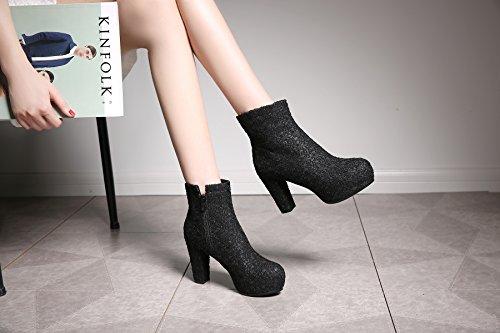 Outono Pretas Bloco Planalto Boots Centímetros Sapatos Zíper Curtas Botas Calcanhar Alto E Com Elegante 9 Salto Inverno Calcanhar De Tornozelo De Ó Senhoras Ankle De zqwExvvSa