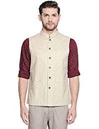 Indus Route by Pantaloons Men's cotton Waist Coat (110058866_ Off White_ XX-Large)