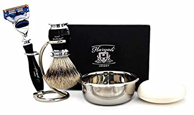 5 Piece Men's Grooming Set In Black. Perfect As a Gift For Him. The Set Includes Pure Sliver Tip Shaving Brush, Gillette Fusion Razor, Brush & Razor Holder/Stand, Stainless Steel Bowl & FREE SOAP. Special Edition.