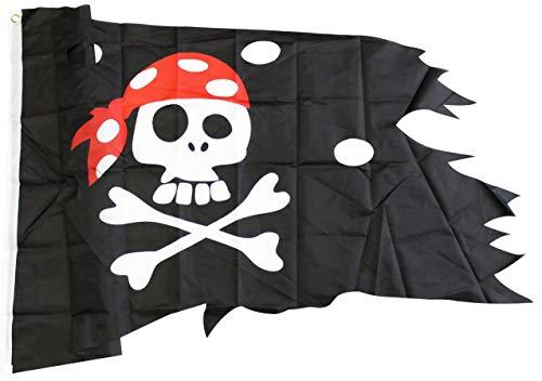 com-four® Piratenflagge für Verschiedene Anlässe, Lumpenfahne für Fasching, Karneval oder Halloween (01 Stück - 130x75cm)