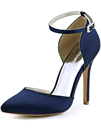 ElegantPark HC1602 Mujer Noche Tacón de Aguja Two Pieces D'Orsay Correa de Tobillo Satén Boda Zapatos de Fiesta Zapatillas