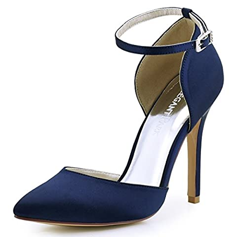 ElegantPark HC1602 Women Pointed Toe High Heel Ankle Strap D'Orsay Satin Pumps Wedding Evening Party Court Shoes Navy Blue UK 7(EU