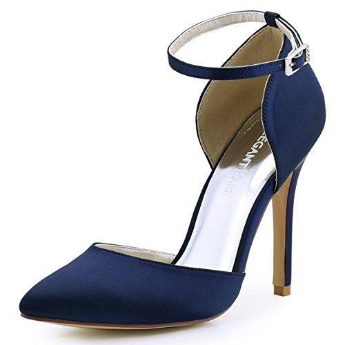 Elegantpark HC1602 Damen Spitze Zehen D'orsay Ankle Straps High Heels Pumps Satin Abendschuhe Brautschuhe Marineblau Gr.40 Satin Ankle Strap High Heel