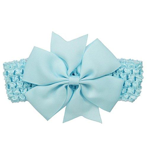 erthome Baby Haarnadel, Kinder elastisches Blumen Stirnband Haar Mädchen Baby Bowknot Haarband Set 3Pcs (Spitzen-Schleife Himmelblau) Blumen-outfit