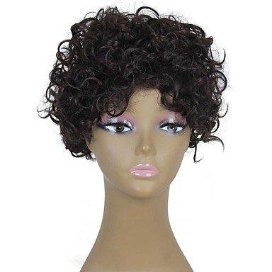 HJL-r¨¦sistantes courtes perruques de chaleur bon march¨¦ fausse perruque de cheveux brun fonc¨¦ afro boucl¨¦s synth¨¦tiques pour les femmes noires