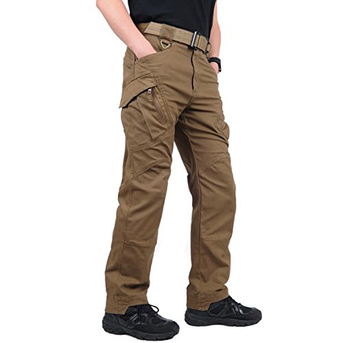 Belloo Herren Baumwolle Cargohose Arbeitshose Multi-Taschen Hose,Braun,L