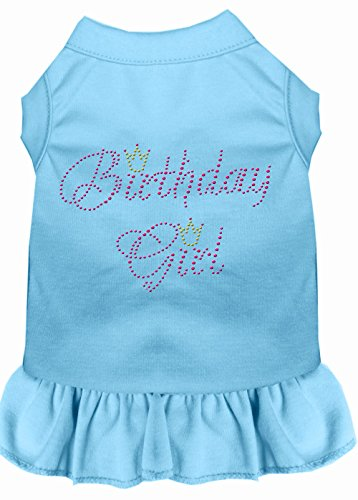 Mirage Pet Products Birthday Girl Rhinestone Dress, Large, Baby Blue