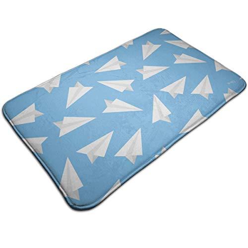 Dimension Art Blue Paper Plane Memory Foam Bath Mat Non Slip Absorbent Super Cozy Soft Velvet Bathroom Rug Carpet, 19.7