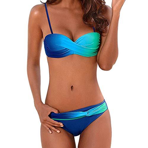 Frauen Böhmische Badebekleidung Beachwear Gradient Print 2 Stücke Bikini Badeanzug Badeanzug Swimming Moonuy ()