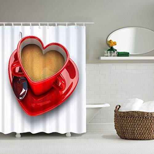 YLXINGMU Bad Duschvorhang 3D Digitaldruck Anti-Schimmel Und Antibakterielle Herzförmige Kaffeetasse...
