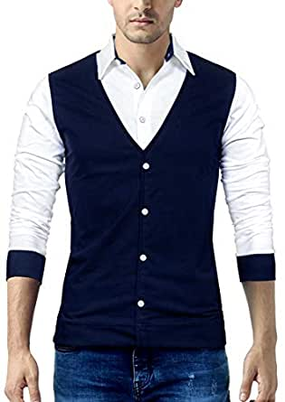 Seven Rocks Men's Cotton Waistcoat Style T-Shirt Blue_Small