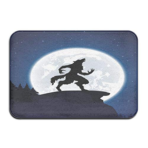 Nacasu Memory Foam Bath Mat Non Slip Absorbent Super Cozy Plush Bathroom Rug Carpet,Full Moon Night Sky Growling Werewolf Mythical Creature In Woods Halloween,Decor Door Mat 23.6 X 15.7 Inches