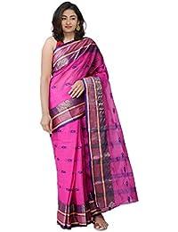 Unnati Silks Women's Bengal Handloom Cotton Tant Saree (UNM31892+Pink+Free Size)