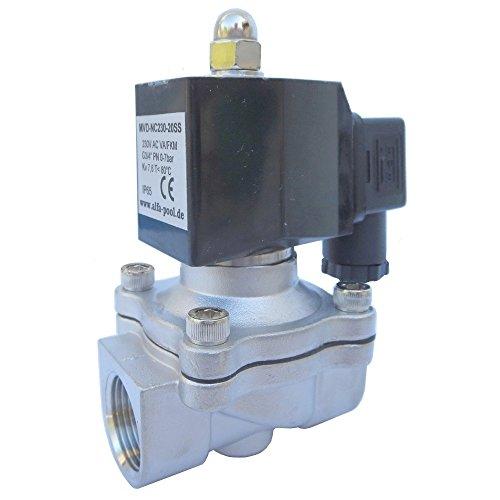 """Magnetventil 230V DN15 1\"""" VA/FKM direktgesteuert, stromlos geöffnet, für Wasser, Luft, Öl"""