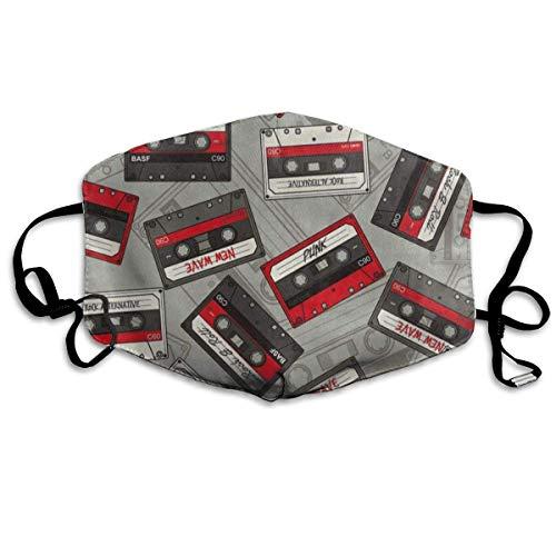 Benutzerdefinierte Mundmaske Anti-Staub Retro Audio Tapes 80S Gesichtsmaske Atmungsaktive Maske mit verstellbarer Ohrschlaufe Winddicht und Warm Unisex4 Audio-kuppel