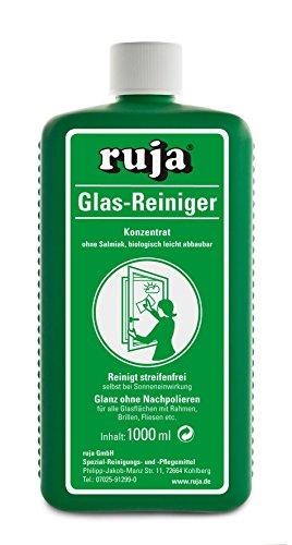 ruja Glasreiniger Konzentrat 1 Liter   streifenfreie Fenster bei Sonneneinstrahlung   auch für Glastisch, Vitrinen, Autoscheibe, Brille, Fliesen, Spiegel und mehr