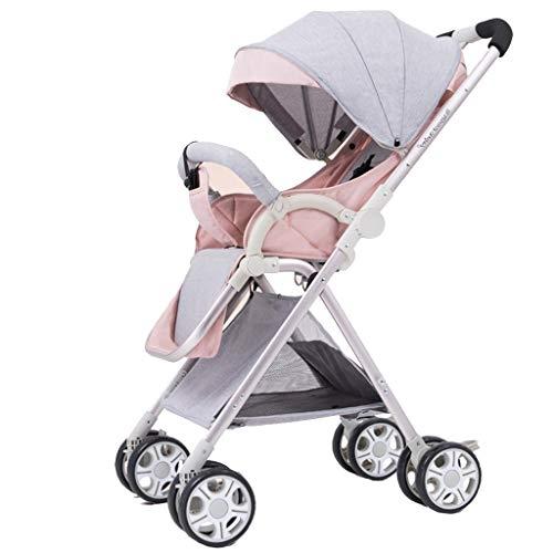 Leichte Kinderwagen High Landscape Infant Travel Buggy Mit Liegeposition, Klein Zusammenfaltbar, Einhand-Faltmechanismus, Ab Geburt Bis 15 Kg-Pink