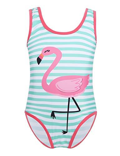 inlzdz Mädchen Flamingo Badeanzug gestreift Schwimmanzug Kleinkind Bikini Tankini Bademode Sommer Swimsuit One Piece Gr. 92-122 Mint Grün&Weiß 104-110 - Kleinkinder Mädchen Badeanzug