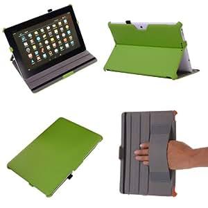 Coodio® Asus MeMo Pad FHD 10 ME302C (10,1 Zoll) Tablet-PC Lederhülle Tasche Cover Mit Ständer und Sleep / Wake Funktion Gebaut in Handgriff (Apfel Grün)