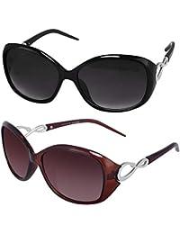 Sheomy Womens Sunglasses Of 2 Combo Of 2 Sunglass (Black Brown) Wayfarer Sunglasses For Womens/Girls/Ladies - (Butterfly-Combo-Black-Brown)