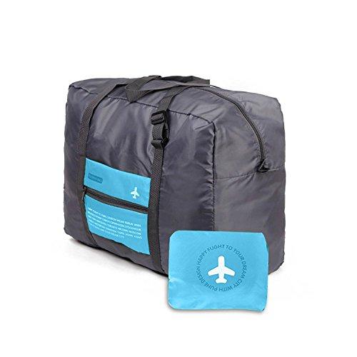 Sac de Voyage Pliable Ultra léger Rangement Grande Taille Cabine Avion Imperméable Organisateur de Valise Packaway Sac à Dos Sac à Main pour Voyage Bagage (Bleu)