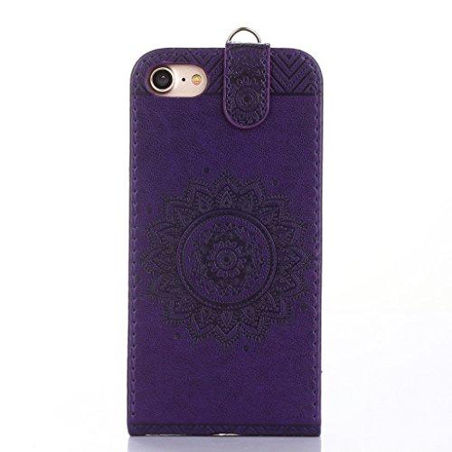 Cover iphone 7 plus Hülle,Fodlon® Totem Geprägt Up-Down öffnen PU-Leder Flip Stand mit Schwarz Lanyard Hülle Abdeckung zum iphone 7 plus-Purple lila