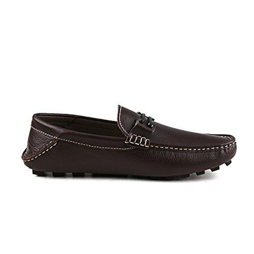 Shenduo - Mocassins pour homme cuir - Loafers confort - Chaussures de ville D6681 Café