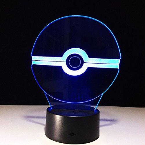 3D Nachtlicht Visualisierung Glow 7 Farbwechsel USB Touch-Taste Und Intelligente Fernbedienung Schreibtisch Tisch Beleuchtung Schönes Geschenk Home Office Dekorationen Spielzeug (Elf Ball)