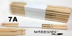 Warriors batterie lot de 12 paires de baguettes 7A modèle :  77,5 g) et poids :  érable sticks holzspitze. simple avec une moindre mesure, de diamètre pour le jazz et léger spiel. aussi bien pour les enfants