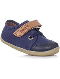 BOBUX - Chaussure Step Up Canvas bleue en tissu et cuir, made in New Zealand, idéale pour les premiers pas, bébé garçon