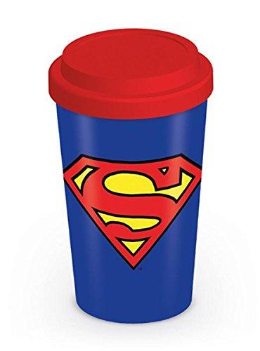 Superman Reise Kaffeebecher aus Porzellan mit rotem Silikondeckel 320ml