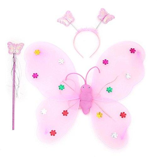 Xshuai 3pcs / Set Mädchen geführtes blinkendes helles weiches Tullegewebe Feenhaftes Schmetterlings-Flügelstab-Stirnband-Kostüm-Geschenk-Spielzeug (Blau / Rosenrot / Lila / Rosa / Gelb) (Prinzessin Kostüm Engel)