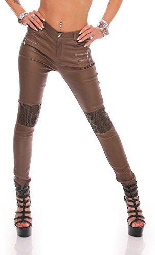 Fashion4Young 10782 Damen Röhrenhose Slimline Leder-Look Lederimitat  Damenhose Wetlook Hose (Hellbraun, S 36) 424f2b421e