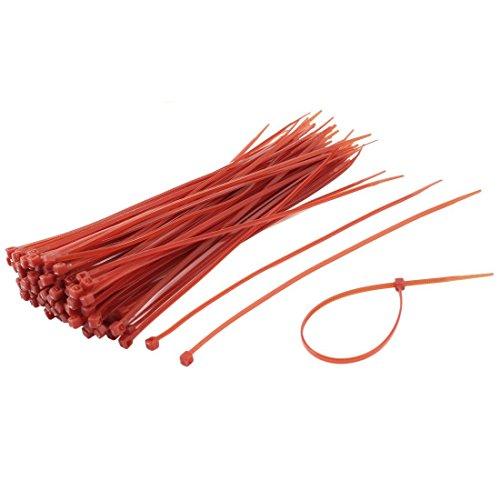 Lazos de alambre - SODIAL(R)100 piezas 3mm x 200mm Rojo Lazos de cierre automatico Abrazadera de cable Lazos de alambre