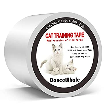 DanceWhale Anti-Scratch Cat Training Tape, 4 inches x 33 Yards Clear Double-Sided Cat Scratch Deterrent Tape – Furniture Protector for Couch, Carpet, Doors, Counter Tops