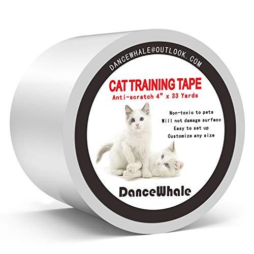 DanceWhale Anti-Kratzer Katzen Ausbildung Klebeband, 10cm x 30m Kratzschutz Katze Hund Transparent Selbstklebend Kratzfestes für Sofa, Tür, Tisch, Möbel -