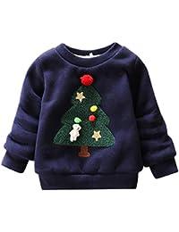 Happy cherry - Sudadera Niños Navidad Ropa Infantil con Estampado Navideño para Primavera Otoño Transpirable Camiseta