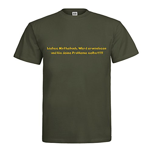 dress-puntos T-Shirt Liebes Mathebuch. Werd erwachsen und lös deine Probleme selbst!!!! 20drpt15-t00527-343 Textil khaki / Motiv gelb Gr. XXL (T-shirt Khaki-erwachsenen)