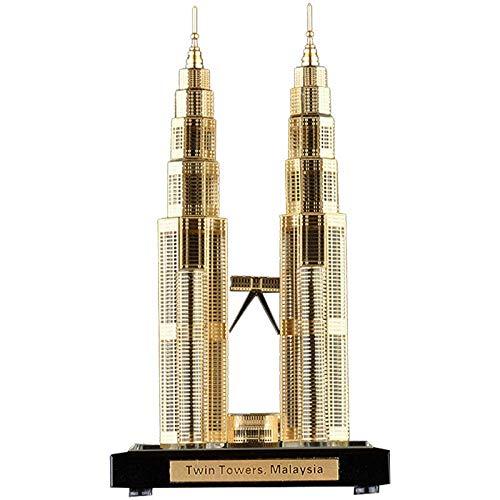 12LYN Hauptwohnzimmer Büro Glas Tourist Souvenirs Malaysia Twin Towers Modellhandwerk Geschenke Schießen Dekorationen (Color : Gold, Size : 7.5 * 7.5 * 13.6CM)