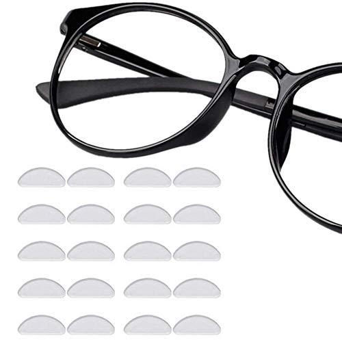 LEEQ Nasenpads für Brillen, selbstklebend, 12 Paar, zum Ankleben, weiche Silikon-Nasenpads Rutschfest, transparent, Gelkissen, 1 mm Brillenpads für Sonnenbrillen, Brillen Prime
