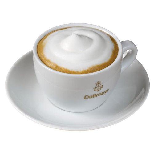 Dallmayr Cappuccinotasse + Untertasse mit goldenem Aufdruck, Cappuccino Tasse, Kaffeetasse, Weiß, 160 ml